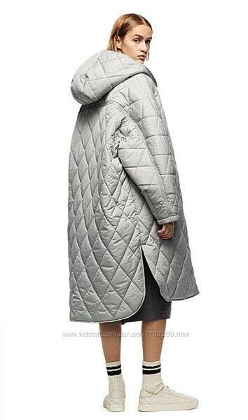 Новое стеганое пальто Zara утепленный плащ с капюшоном пуффер оверсайз зара