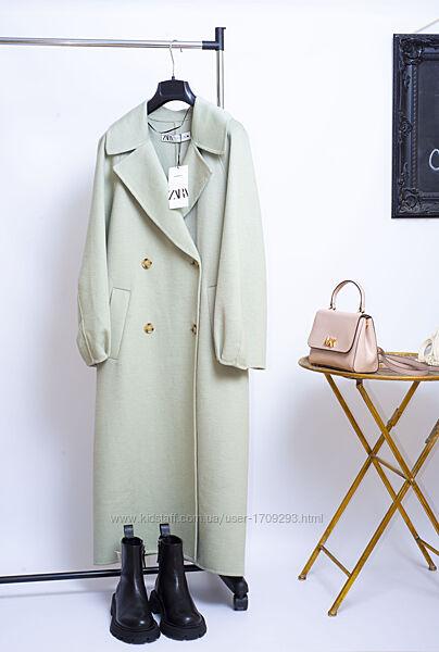 Новое демисезонное шерстяное пальто zara двубортное пальто миди оверсайз