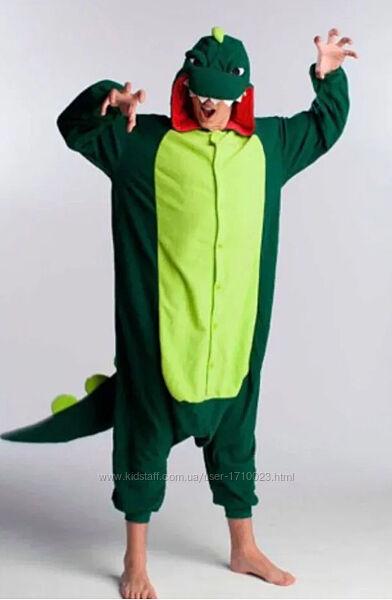 Кигуруми Динозавр зеленый дракон, крокодил Все Взрослые Размеры