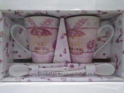 набор керамический 2 чашки 2 ложки