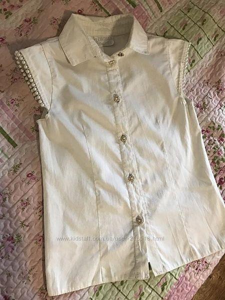 Школьная блузка с бусинками короткий рукав