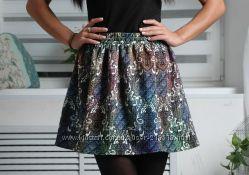 Красивая мини юбка разноцветная  С-м в талии резинка