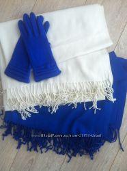 Демисезонные синие шерстяные перчатки