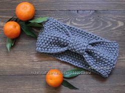 Женская вязаная повязка бант на голову шерсть ручной работы.