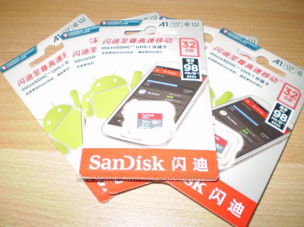 Карты памяти microSDHC на 16GB, 32GB Class 10