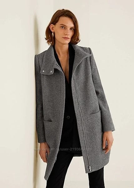 Пальто из шерсти с воротником стойкой MANGO-р. M