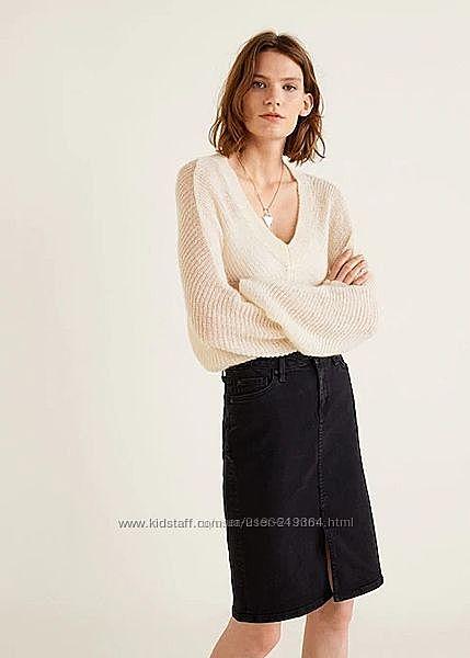 Юбки прямые джинсовые, хлопковые, кожаные Mango Испания -р. 44-46