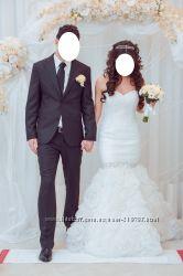 Свадебное платье силуэт русалка с камнями. стразы