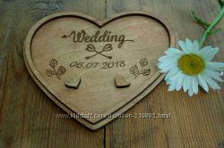 Тарелка, подставка для колец для свадьбы дерево