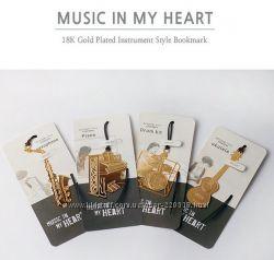 Позолоченные музыкальные закладки для книг - отличный подарок