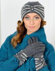 SALE Комплект Venera шапка, перчатки, шерсть цвета в ассортименте