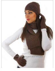 Итальянский комплект шапка, шарф, перчатки