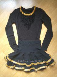 Юбка и блузка для бальных танцев, латины, ча-ча-ча