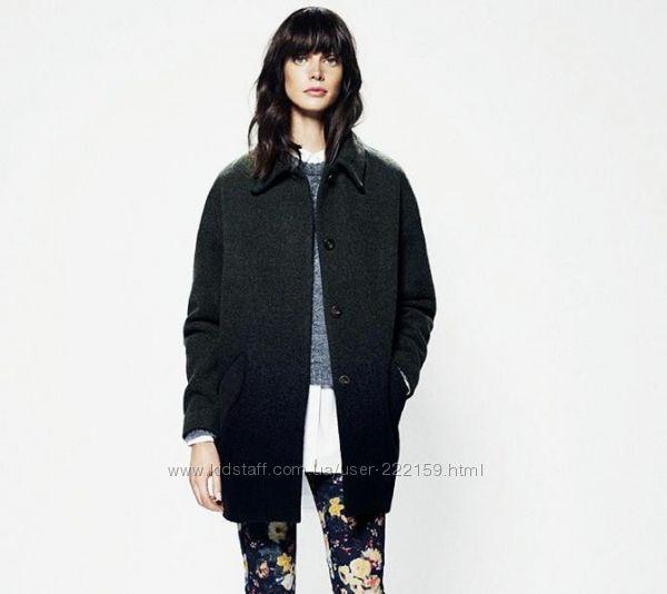 Молодежное черное шерстяное пальто oversize на  размер 14-18 uk