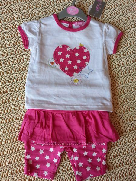 Комплект футболка и шорты Minoti 3-6, 6-12, 12-18 мес. Новый