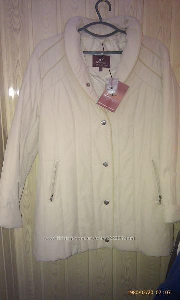 Куртка на синтепоне Бежевая куртка стеганая полосами куртка белая 52