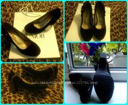 Женские черные туфли на каблуке замш размер 36