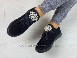 Кеды красовки женские замш черные атласные шнурки жемчуг размер 36