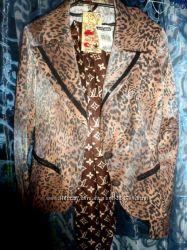 Тигровый леопардовый женский пиджак размер с-м новый
