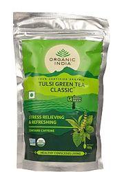 Тулси Зеленый чай Органик   Organic India, Tulsi green tea, 100 г