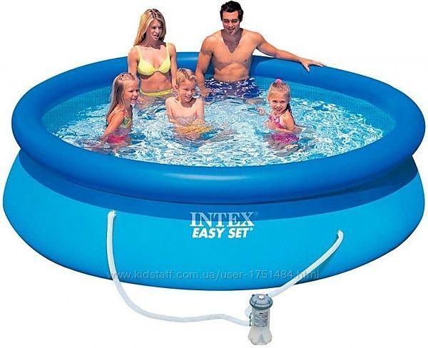 Надувной наливной семейный бассейн Интекс детский 305х76см Intex