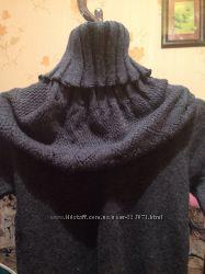 Женские теплые шерстяные кофточки- туники  с манишкой
