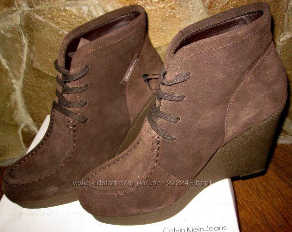 Замшевые ботинки Calvin Klein, раз 40 , темно-коричневые, серые