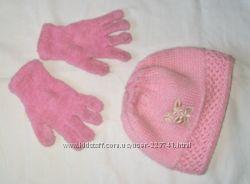 шапка вязанная очень теплая  махровые перчатки