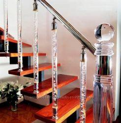 Перила из алюминия, лестницы из дерева, pleksi, мрамора