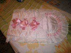 Нарядный ковертик для новорожденной девочки