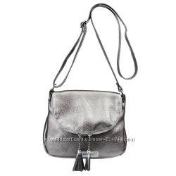 Стильная кожаная женская сумка кроссбоди с кисточками