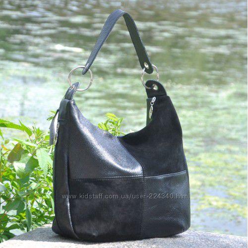 Кожаная женская сумка велюр кожа и замша