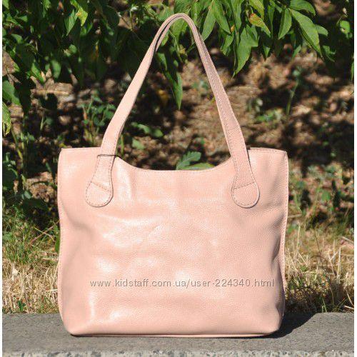 Шикарные пудровые сумки из натуральной кожи