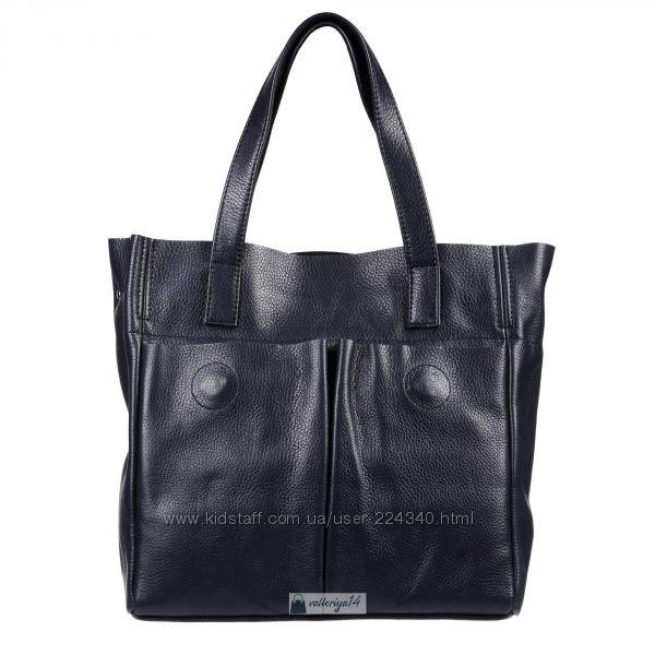 Красивые сумки из натуральной кожи в синем цвете