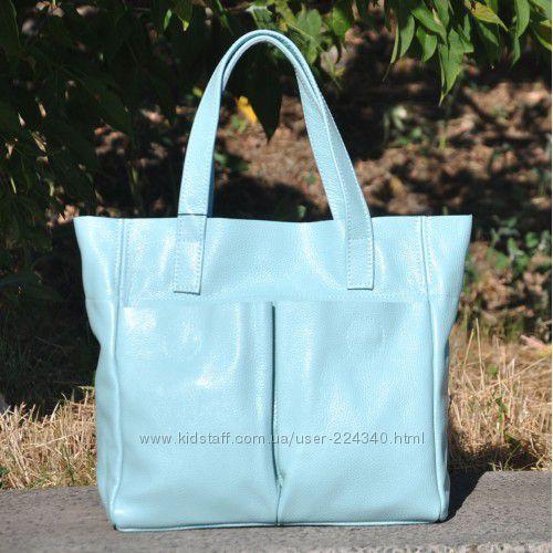 Стильные сумки из натуральной кожи в голубых тонах