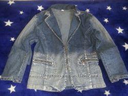 джинсовый пиджак со стразами
