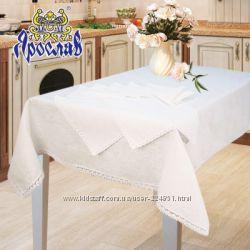 натуральные льняные скатерти с салфетками с кружевом стильный подарок