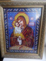 Икона Божьей Матери Почаевская, вышитая бисером
