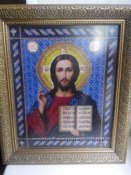 Икона Христа Спасителя, вышитая бисером