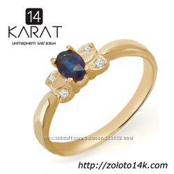 Золотое кольцо с сапфиром и бриллиантами 0, 03 карат. НОВОЕ Код 16822