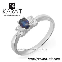 Золотое кольцо с сапфиром и бриллиантами 0, 03 карат. НОВОЕ Код 16821