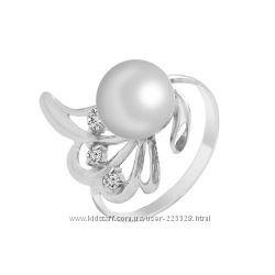 Золотое кольцо с жемчугом и бриллиантами 0, 09 карат 15, 5 мм. НОВОЕ