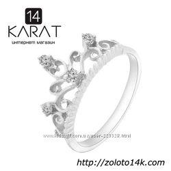 Золотое кольцо корона с бриллиантами 0, 12 карат 17 мм. Новое Код 16940