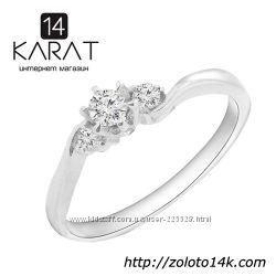 Золотое кольцо с бриллиантами 0, 15 карат 16, 5 мм. Новое Код 16740