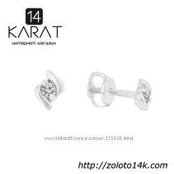 Золотые серьги гвоздики с бриллиантами 0, 06 карат. Новые Код 15082
