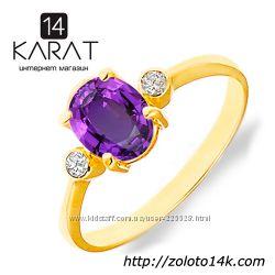 Золотое кольцо с натуральным аметистом и бриллиантами 0, 06 карат 17, 5 мм.