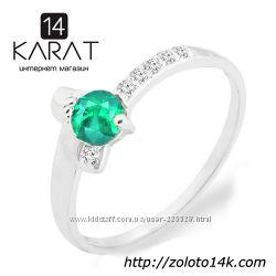 Золотое кольцо с натуральным изумрудом и бриллиантами 0, 06 карат 17 мм.