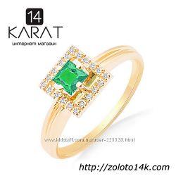 Золотое кольцо с натуральным изумрудом и бриллиантами 0, 08 карат 16, 5 мм.