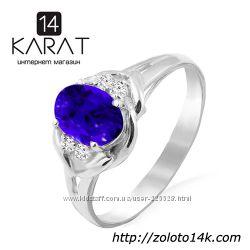 Золотое кольцо с натуральным сапфиром и бриллиантами 0, 06 карат 16, 5 мм.