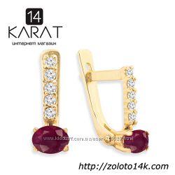 Золотые серьги с натуральный рубином и бриллиантами 0, 12 карат